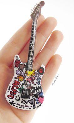 Miniature Guitar necklace. by Alice's idea... www.alicesidea.pl #necklace#guitar .