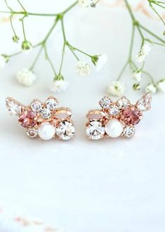 Buy Now Bridal Climbing Earrings Blush Climbing Earrings...