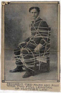 Here's a series of rare photos of Houdini freeing himself from a roped chair. These come courtesy of mega collector Arthur Moses and are quintessential shots of Houdini in action! Rare Photos, Old Photos, Vintage Photos, Dark Photography, Vintage Photography, Steampunk Circus, Magic Illusions, Curious Cat, Antique Bottles
