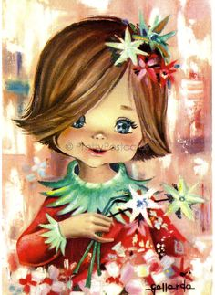 Gallarda the Sweetest Big Eyed Girl Vintage by PrettyPostcards, $5.00