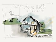 Architectural thought from Tim Stephens. It's enough detail to convey the concept, enough left out to fuel imagination. Sketch frames the image, Color draws the eye in. Three colors convey what's outside, sunlit and shaded.   timstephens88:    Recurring dream house concept. Requires a sloped site. Fluctuates between 2-3 storeys.. I guess  this would be site dependent