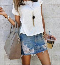 trendy casual look white tee + distressed denim skirt