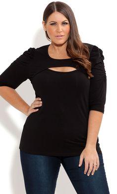 City Chic - BASIC PEEK A BOO TOP - Women's plus size fashion