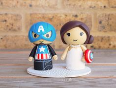 Captain America groom and bride wedding cake topper by GenefyPlayground https://www.facebook.com/genefyplayground
