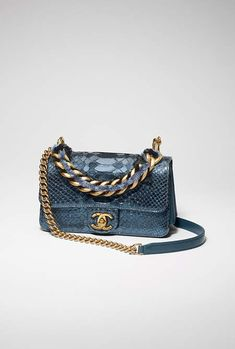 Flap bag, python, lambskin, ruthenium-tone & gold-tone metal-blue - CHANEL