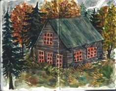 A barn I saw in New Hampshire, painted from memory in my sketchbook. Phoebe Wahl 2013