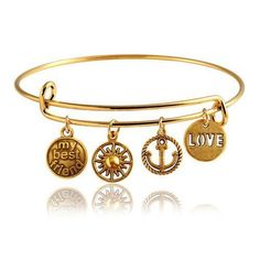 "Looking for a gift for your best friend? This ""My Best Friend"" Expandable Wire Bangle Bracelet is what you're looking for! This gold bangle bracelet is also suited for dog lovers. Dog=Best friend don't you agree? This expandable bracelet is great for teenagers, young adults and adults alike."