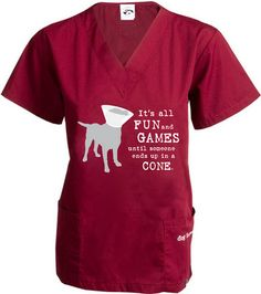 Dog is Good Unisex It's All Fun and Games Scrub Tops - Great Gift for Dog Lovers cotton-poly blend 2 front pockets loose-fitting V-neck side slits Veterinarian Scrubs, Veterinarian Technician, Veterinarian Quotes, Vet Tech Quotes, Vet Tech Scrubs, Vet Assistant, Pet Vet, Vet Clinics, Dog Games