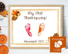 Baby's First Thanksgiving, Newborn Footprint Craft, DIY Printable Daycare 2021 by HolaSunshineDesigns on Etsy Babys First Thanksgiving, Thanksgiving Crafts, Simply Stamps, Floral Printables, Baby Footprints, Non Toxic Paint, Stamp Pad, Last Minute Gifts, Photo Craft
