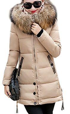 960bf639fa48 Magike Manteau Chaud Doudoune Femme Veste Capuche Fourrure Faux Long Hiver  Jacket Blouson Causal Marron
