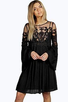 1c844a6e4c NWT Boohoo Black Boutique Carmen Lace Wide Sleeve A-Line Tent Dress Size 14