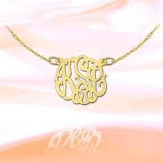 Monogram Necklace 1/2 inch 24K Gold Plated by SilverJewelryArcade, $52.99