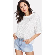 SheIn(sheinside) Short Sleeve Fringe Jacquard Top (3.280 HUF) ❤ liked on Polyvore featuring tops, white short sleeve top, white fringe top, embellished sleeve top, white embellished top and embellished top