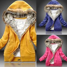 Winter Casual Women Short Thick Sweatshirt Coat Fur Collar Hooded Cardigans Hoodies Outwear, 3 Colors, M, L, XL, XXL $29.77 (free shipping)