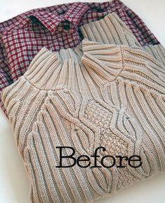 Convertir un jersey en chaqueta con trozos de tela de otra prenda vieja.