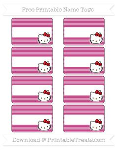 Free Mulberry Purple Horizontal Striped  Hello Kitty Name Tags