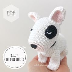 Perros Bull Terrier, Bull Terrier Puppy, Bull Terriers, Crochet Bear, Crochet Toys, Kawaii Crochet, Half Double Crochet, Single Crochet, Amigurumi Patterns