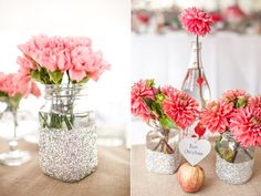 Glitter vases holding bright flowers as wedding centerpieces