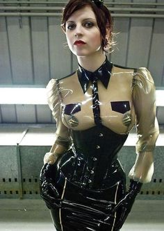 Transparent latex blouse, corset and skirt