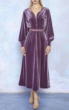 Velvet A-Line Midi Dress by LUISA BECCARIA for Preorder on Moda Operandi