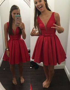 Noble Homecoming Dress,Satin Homecoming Dress,V-Neck Graduation Dress,Brief Short Prom Dress