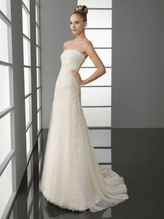 NO.02544012012 style aline strapless lace 34length sweep brush train tulle wedding dresses for brides