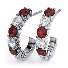 Garnet J Hoop Gemstone & .30 Carat Diamond Earrings in 14k White Gold by JewelryHub on Opensky