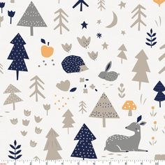 Taupe and Windsor Navy Baby Woodland Fabric by Carousel Designs.