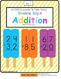 FREE File Folder Game Double Digit Addition Without Regrouping Ice Pop Theme - Autism Educators - TeachersPayTeachers.com
