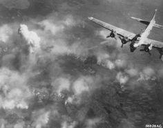 Bombing raid over part of the Auschwitz camp. Auschwitz, Poland, August 1944.