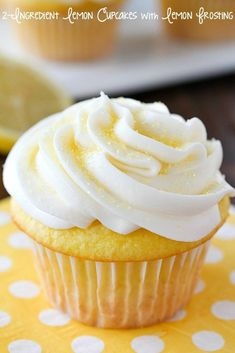 Lemon Cupcakes made with only 2 Ingredients and then frosted with a quick and easy lemon frosting! You won't believe how soft and delicious these cupcakes are! Plus a round-up of more delicious cupcake recipes you won't want to miss! Cupcake Recipes, Cupcake Cakes, Dessert Recipes, Diet Desserts, Lemon Desserts, Health Desserts, Drink Recipes, Dinner Recipes, Lemon Cupcakes