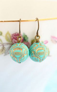 Turquoise Earrings Gold Etched Ornate Earrings
