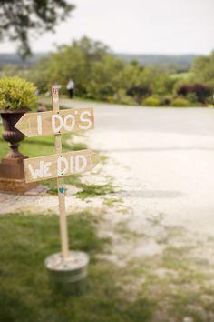 I Do - We Did - rustic barn wood sign at a farm wedding
