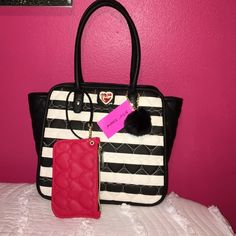 Betsey Johnson tote with wristlet Betsey Johnson tote with wristlet winged PVC stripe Betsey Johnson Bags Totes