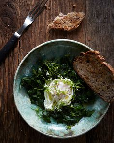 hungry ghost food + travel - new - where the wild things are. poached egg with garlic mustard.