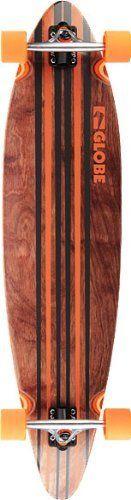 """Globe Longboard: Pinner Cruiser - 41"""" Black/Org by Globe. $125.95. Globe Pinner Lete 41"""" Blk/Org Complete Skateboard. Globe Pinner Complete - 41"""" Black/Org - 65Mm 83A Wheels, 180mm Slant Inverted Trucks 90A Bushings. Globe Abec 7 Bearings"""