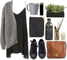 Outfit #25 - Light Gray Crochet Cardigan - Black Crochet Dress - Gray Sneakers