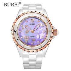 US $52.16 - Ladies Watches BUREI Top Brand Luxury Casual Fashion Bracelet Gold Woman Quartz Watch Ceramic Diamonds Waterproof Wristwatches