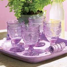 Parisian inspired Hobnail glass goblets The vintage molds from the early century make them an instant collectible Purple Home, Vintage Dishes, Vintage Glassware, Vase Deco, Color Lavanda, Lavender Cottage, Purple Kitchen, Kitchen Colors, All Things Purple