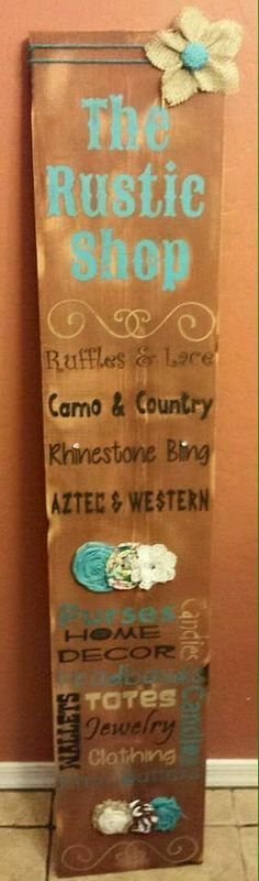 Carla Aguirre uses this beautiful handmade sign a friend made for her at vendor events! Great inspiration for table display/decor.