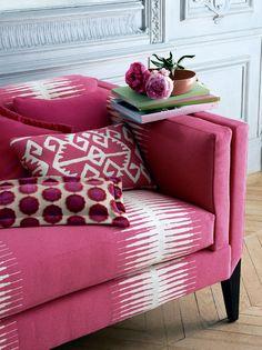 Manuel Canovas' Kazan (couch), pillows from T-B: Champs-Elysees, Champs-Elysees, Kerala, Tiana  #InteriorDesign #textiles #ManuelCanovas  www.cowtan.com http://www.pinterest.com/cowtanandtout