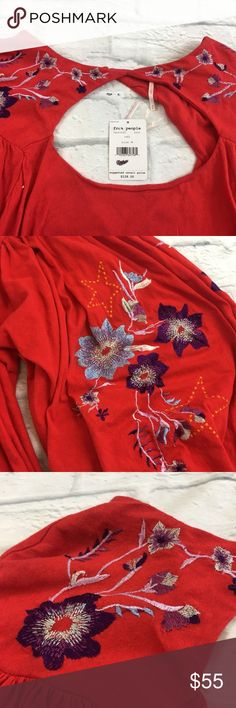 Red Lita Embroidered Bell Sleeve  Shirt *FLAW New $128 Free People Women's Size Medium Red Lita Embroidered Bell Sleeve Shirt.  *Shirt is new with tags, but embroidered stitching is frayed throughout shirt.  Please see photos for exact product details.  Additional Details: Bohemian and pretty, this vibrant top featuring front and back cutouts is balanced by the volume in the body and at the sleeves.   Bateau neck Long sleeves with button cuffs Front and back cutouts Lined  Fabric…