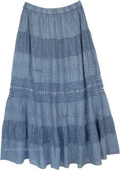 Plus Size Copper Paisley Cotton Tiered Sequin Summer Skirt Fall Skirts, Boho Skirts, Tie Dye Skirt, Dress Skirt, Denim Maxi, Pencil Skirt Outfits, Denim Crafts, Fringe Skirt, Blue Maxi