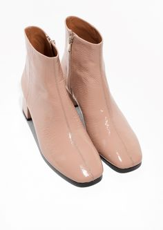& Other Stories image 2 of Patent Leather Ankle Boots in Beige Beige Ankle Boots, Nude Boots, Leather Ankle Boots, Booties Outfit, Pretty Shoes, Sock Shoes, New Shoes, Me Too Shoes, Fashion Shoes