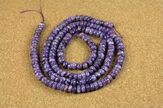 Purple Charoite Rondelle Beads  Smooth Purple Beads by ABOSBeads