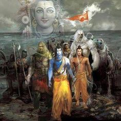 Sri Rama crossing to Lanka from Rameshwaram Shiva Hindu, Hindu Deities, Hindu Art, Hanuman Images, Lord Krishna Images, Hindus, Buddhists, Arte Krishna, Shri Ram Photo