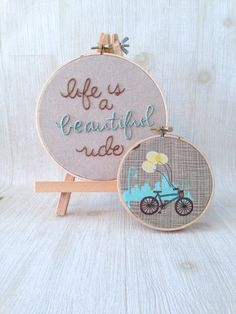 made to order . hand stitched embroidery hoop . life is a beautiful ride . inspirational quote . one of a kind . whimsical bicycle fabric on Etsy, $8.83 CAD