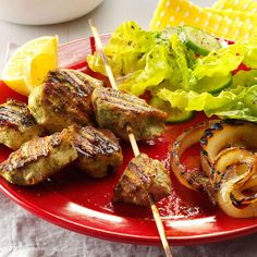 Cilantro & Lemon Marinated Chicken Kabobs Recipe -Cook the onions first so there's plenty of room on the grill for the chicken skewers. Give the whole platter a spritz of lemon for a sunshiny delight.—Moumita Ghosh, Plano, Texas