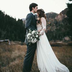 Lace and chiffon modest wedding dress from alta moda bridal.
