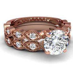 Vintage Antique Engagement Wedding Rings Set 0.65 Ct Round Diamond GIA 14K Rose Gold